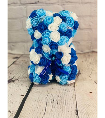 Forever Rose Teddy In Blues and White