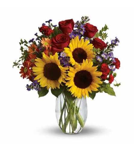 Sunflowers with red Roses