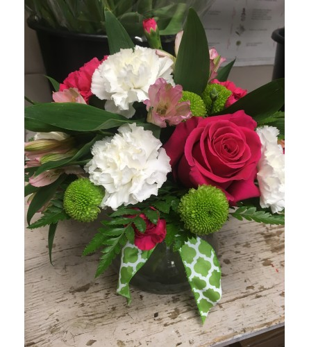 Pink, Green and White Arrangement