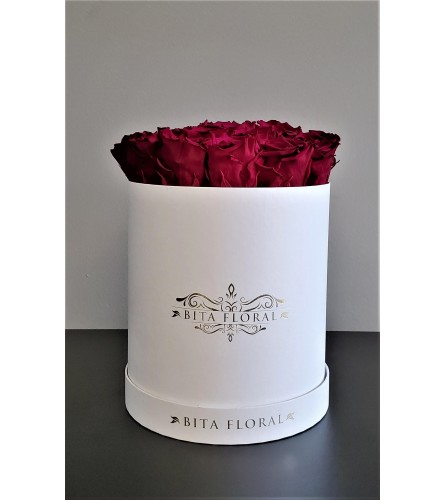 19 Hot Fuchsia Eternity Roses Round Box