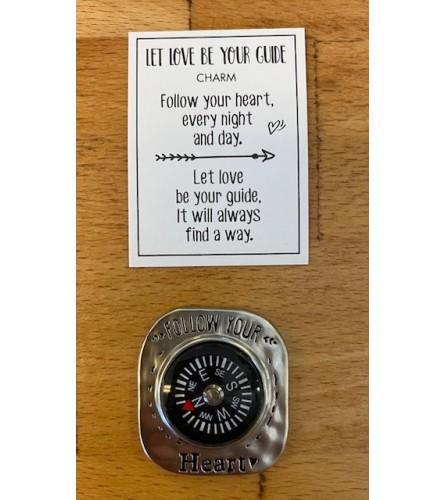 follow your heart compass charm