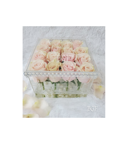 Natural Roses in Square Acrylic Box