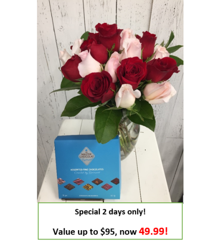 24 stem Mystery Color Rose + Chocolate Bouquet '21