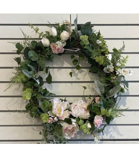 Artificial door wreath soft pink peonies.
