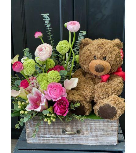 Lux Floral Teddy Bear Arrangement