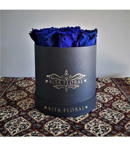 Dozen Royal Blue Eternity Roses - Black Round Box