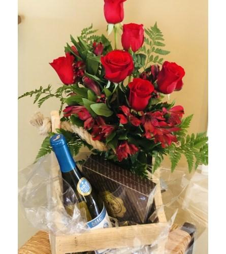 RED ROSES & BOTTLE OF WINE