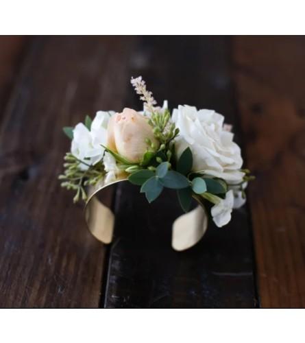 Foraged Floral Gold Cuff Bracelet Corsage