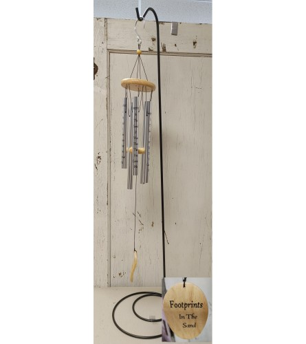 """Footprints In the Sand 40"""" Windchime With Stand"""