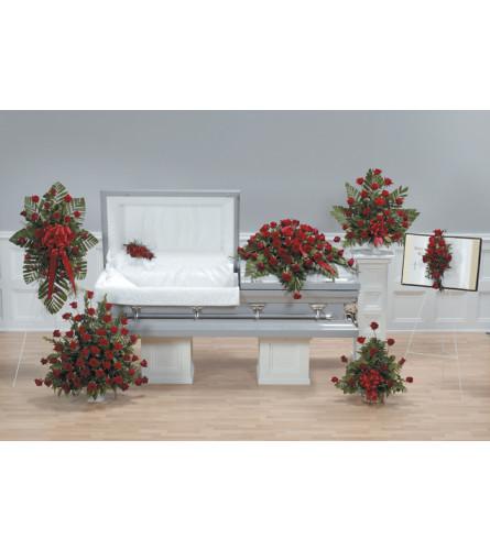 Red Rose Funeral Package including Casket Spray
