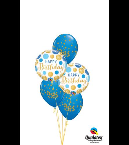 Blue & Gold Dots Classic Confetti Balloon Bouquet