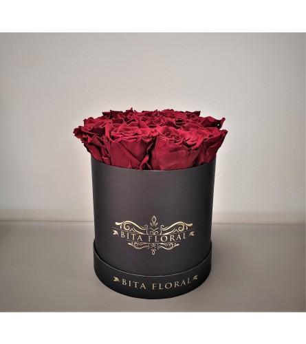 Dozen Red Eternity Rose - Black Round Box