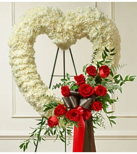 Red & White Standing Open Heart-White Carnations - Red Roses