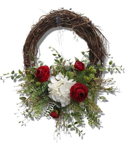 Ruby Beauty Silk Grapevine Wreath
