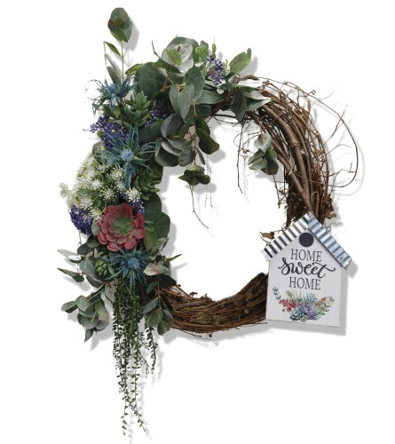 Home Sweet Home Succulent Grapevine Wreath
