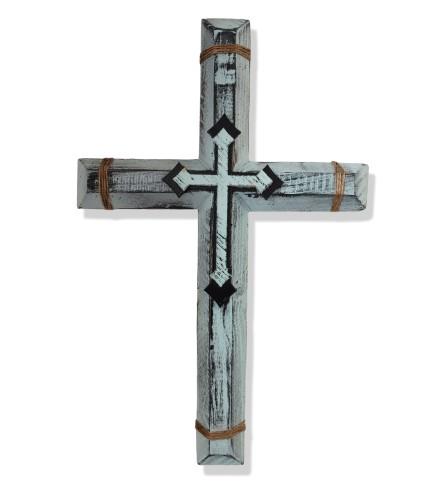 Aqua Handmade Wooden Cross