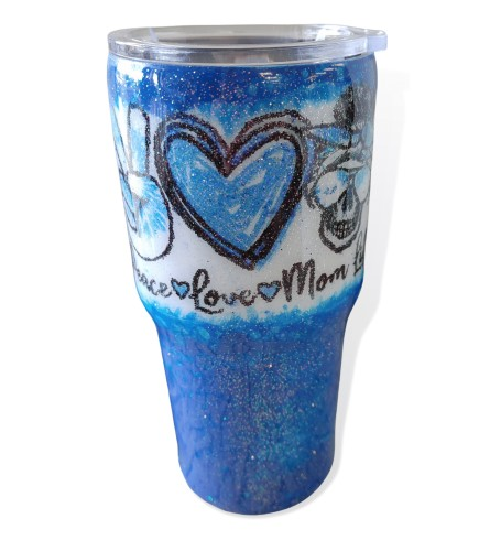 Inspired By Glitter Peace Love Mom Life Tumbler