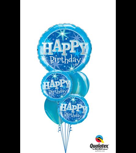 Sparkling Blue Birthday Cheerful Balloon Bouquet