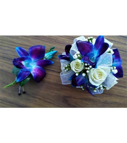 Blue and White Dendrobium and Rose Corsage + Boutonniere