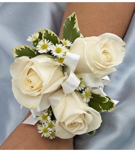 Trio White Roses Corsage