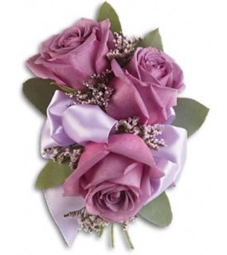 Trio Lavender Roses Corsage