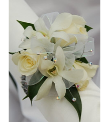 White Roses and Dendro Orchids Corsage