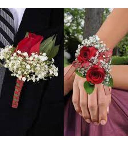 Red Roses Corsage + Boutonniere