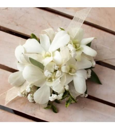 White Dendrobium Orchid Corsage