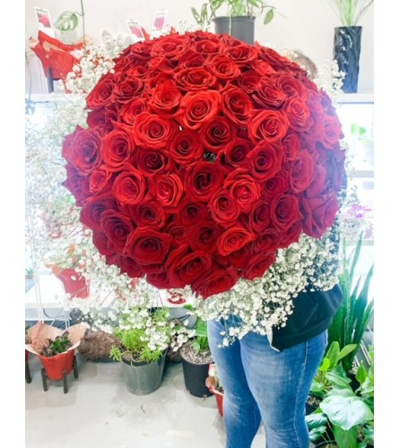 100 Roses Hand Tied Bouquet