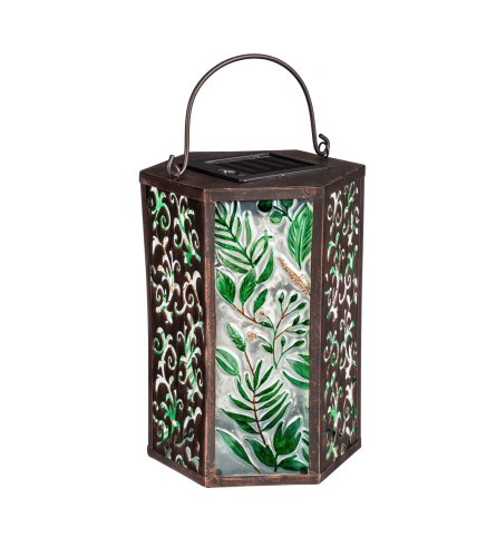 Green Floral Solar Lantern I