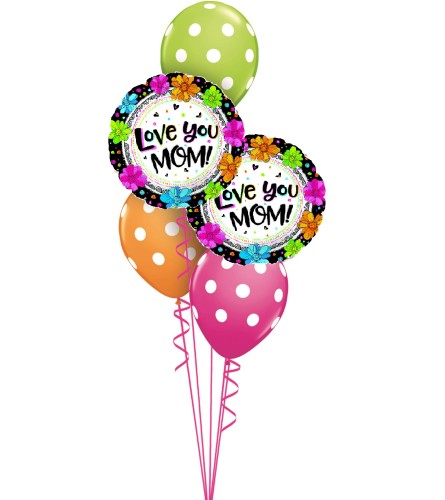 Love You Mom Flowers Classic Balloon Bouquet