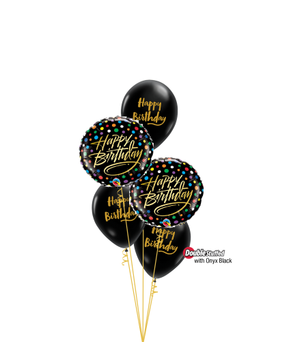 Elegant Gold & Black Classic Confetti Balloon Bouquet