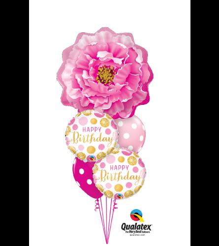 Pink Peony Birthday Cheerful Balloon Bouquet