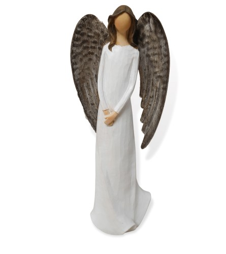 Wooden Angel With Faux Tin Wings