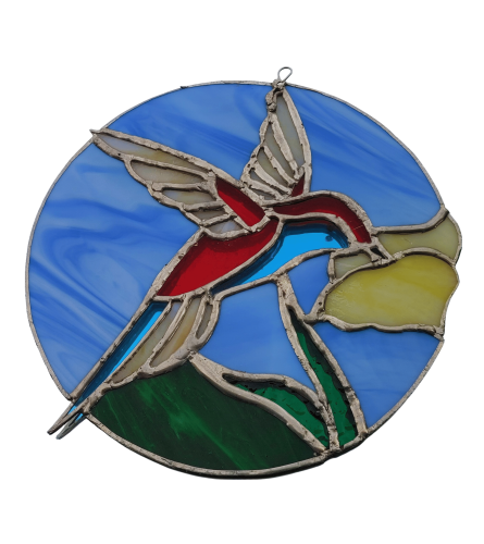 Locally Made Stained Glass Hummingbird