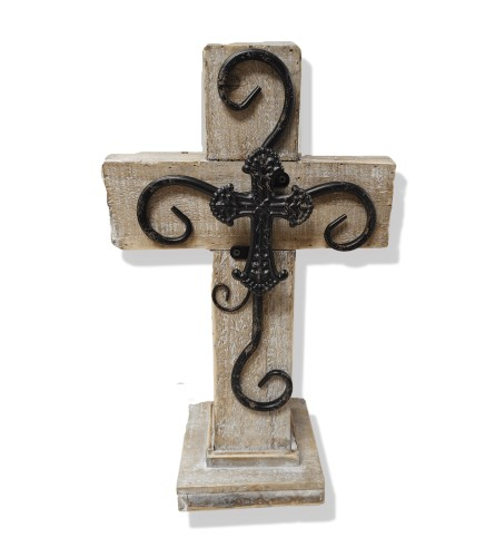 Wooden Cross With Iron Scrollwork