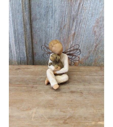 Statue - Willow Tree 'Angel of Comfort' (w/ dog)