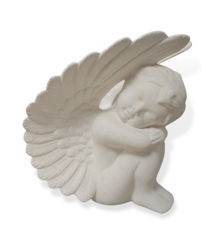 Resting Ceramic Angel With Fine Gold Accents