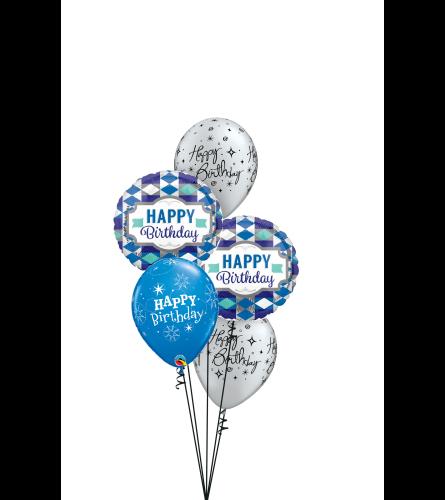 Silver 'N' Blue Birthday Classic Balloon Bouquet