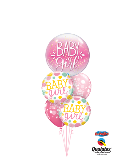 It's A Girl Cheerful Bubble Balloon Bouquet