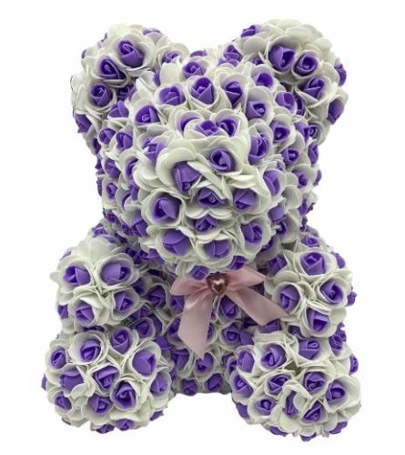 Purple and White Large Rose Bear 16inch with box