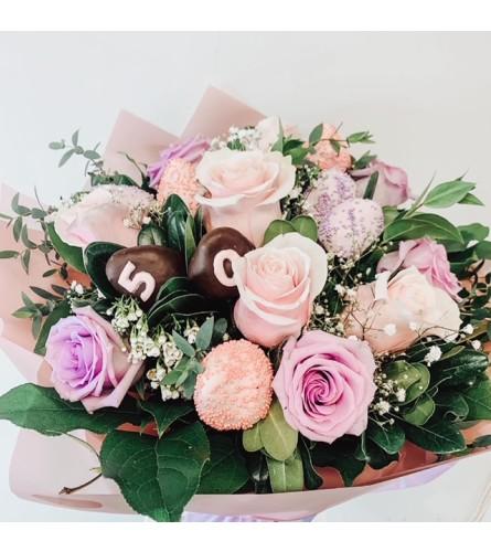 Flowers & Chocolate Dipped Strawberries (2 days advance notice mi