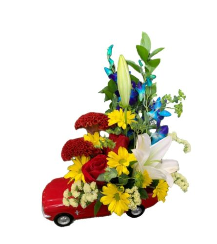 Flowers for Father in Red Mustang