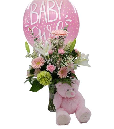 Baby-Girl-Pink-Balloon-Gerberas