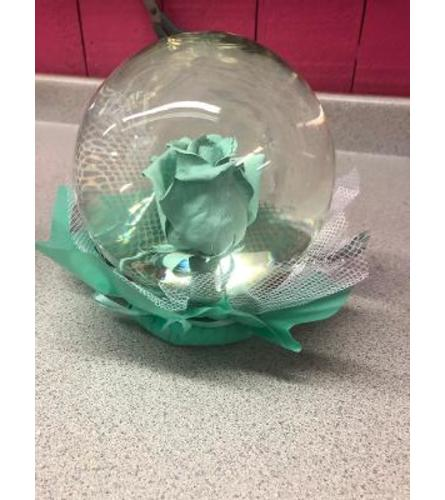 Eternity Lgt. Turquoise Rose Globe