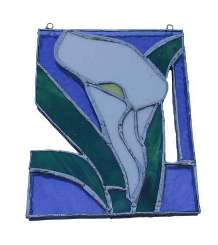 Locally Made Stained Glass White Calla