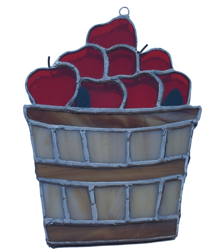 Locally Made Stained Glass Apple Basket
