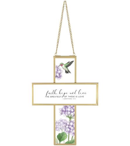Cross - Glass 'Faith Hope Love'