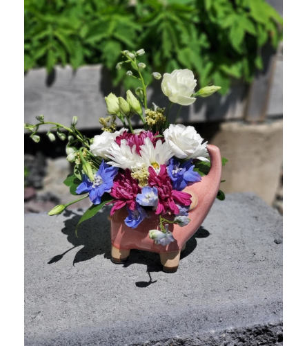 Elephant Pottery Pot + Fresh Blooms