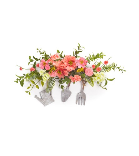 COSMOS/BERRY CREST W/GARDEN TOOLS SILK FLORAL HANGING SWAG